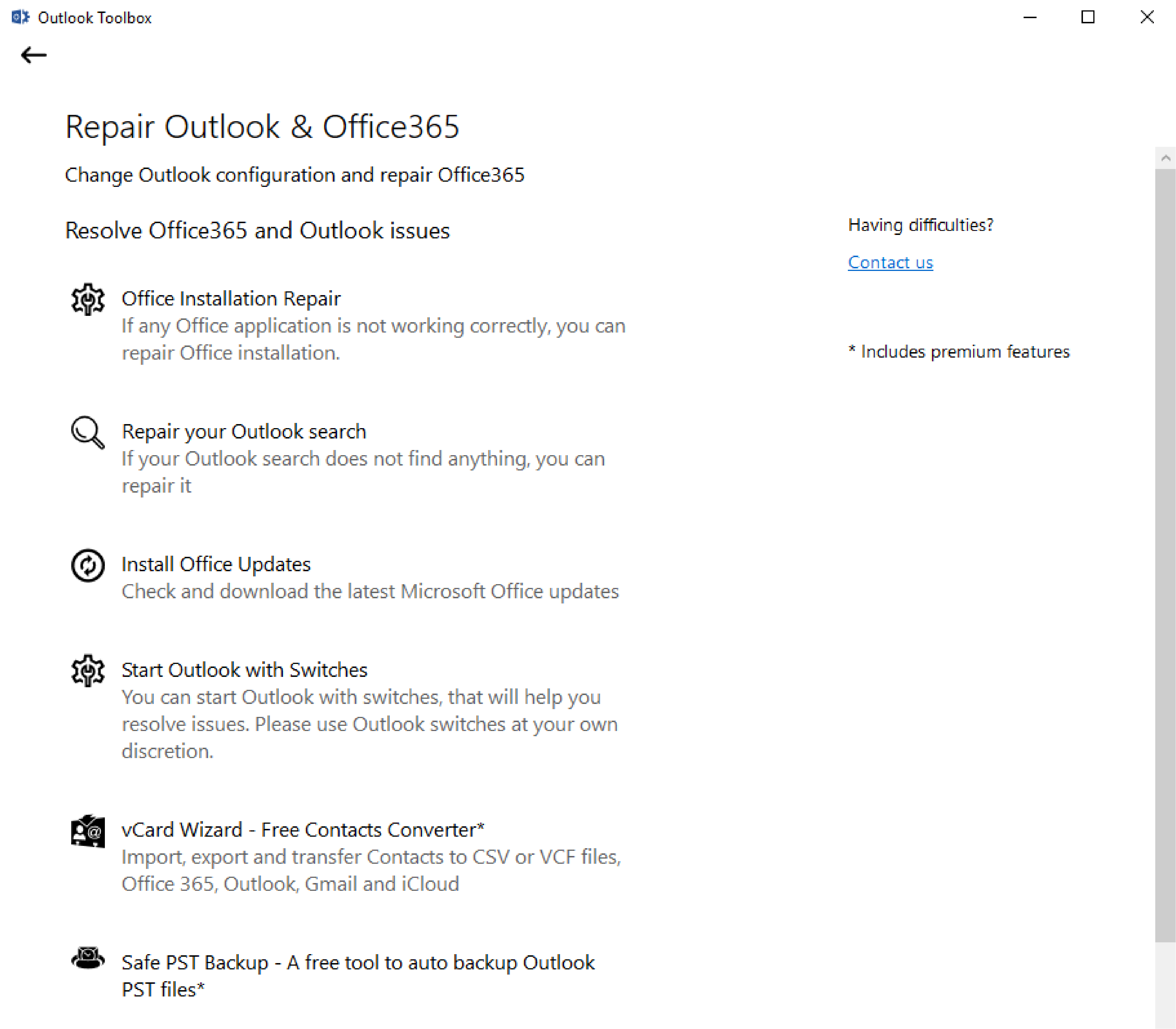 Repair Outlook and Office365